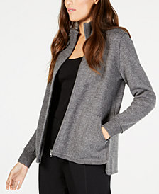 Eileen Fisher Mock-Neck High-Low Wool Jacket