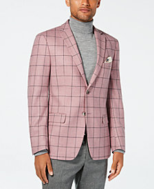 Tallia Men's Slim-Fit Pink/Gray Windowpane Wool Sport Coat