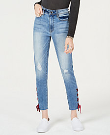 American Rag Juniors' Velvet Lace-Up Skinny Ankle Jeans, Created for Macy's