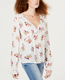 American Rag Juniors' Floral-Print Ruffle-Trim Top, Created for Macy's