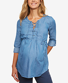 Motherhood Maternity Chambray Lace-Up Shirt