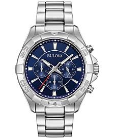 Bulova Men's Chronograph Sport Stainless Steel Bracelet Watch 43mm, Created for Macy's