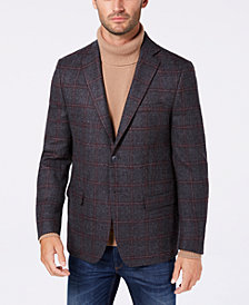 Michael Kors Men's Classic/Regular Fit Gray/Wine Windowpane Wool Sport Coat