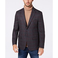 Michael Kors Classic/Regular Fit Windowpane Wool Men's Sport Coat (Grey/Wine)