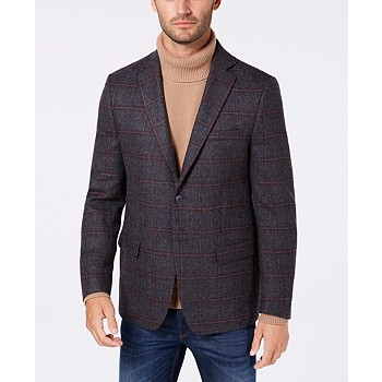 Michael Kors Classic/Regular Fit Windowpane Wool Men's Sport Coat