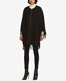 DKNY Zippered Fringe-Trim Poncho, Created for Macy's