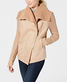 Style & Co Plus Size Faux Shearling Knit-Sleeve Jacket, Created for Macy's