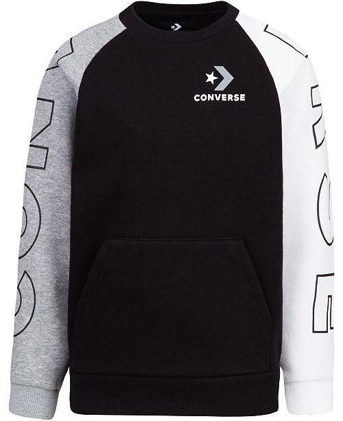f907629c0101 Converse Big Boys Colorblocked Logo Sweatshirt - Sweaters - Kids ...