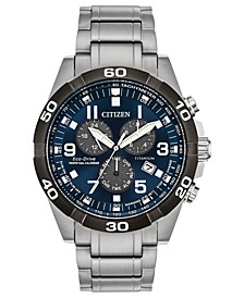 Eco-Drive Men's Chronograph Brycen Super Titanium Bracelet Watch 43mm