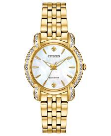 Citizen Eco-Drive Women's Jolie Diamond-Accent Gold-Tone Stainless Steel Bracelet Watch 30mm