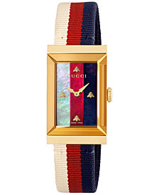 Gucci Women's Swiss G-Frame Cream-Red-Blue Nylon Strap Watch 21x40mm