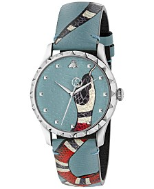 Gucci Unisex Swiss Le Marché Des Merveilles Light Blue Leather Strap Watch 38mm
