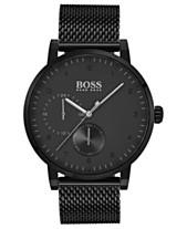 3680bdeb79952b BOSS Hugo Boss Men's Oxygen Black Stainless Steel Mesh Bracelet Watch 42mm