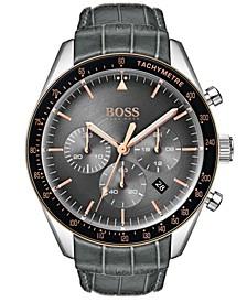 Hugo Boss Men's Chronograph Trophy Gray Leather Strap Watch 44mm