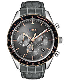 BOSS Hugo Boss Men's Chronograph Trophy Gray Leather Strap Watch 44mm