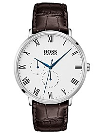 Hugo Boss Men's William Ultra Slim Brown Leather Strap Watch 40mm