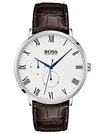 Hugo Boss Men's William Ultra Slim Brown Leather Strap Watch 40mm