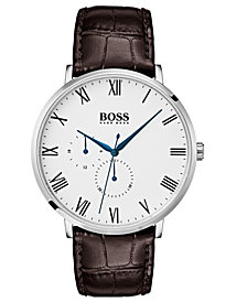 BOSS Hugo Boss Men's William Ultra Slim Brown Leather Strap Watch 40mm