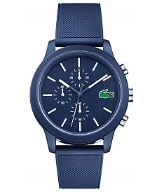 Lacoste Men's Chronograph 12.12 Blue Silicone Strap Watch 44mm