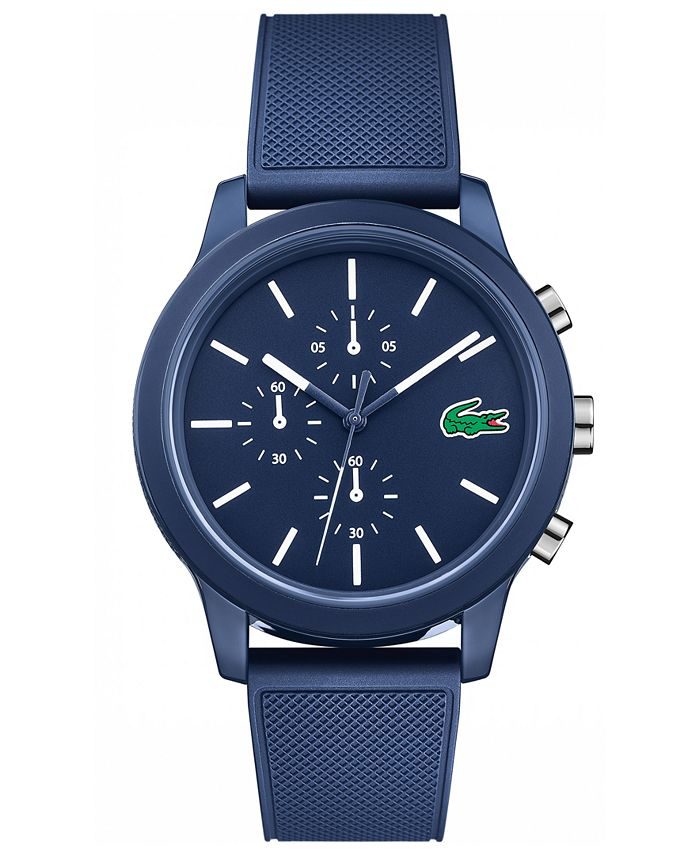 Lacoste - Men's Chronograph 12.12 Blue Silicone Strap Watch 44mm
