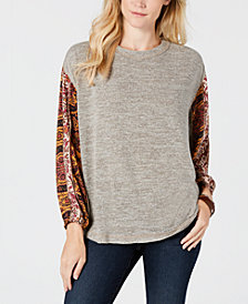 Style & Co Contrast-Sleeve Sweatshirt, Created for Macy's