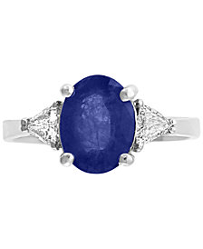 Gemstone Bridal by EFFY® Sapphire (9/10 ct.t.w.) & Diamond (1/2 ct. t.w.) Ring in 18k White Gold