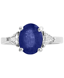 Gemstone Bridal by EFFY® Sapphire (9/10 ct.t.w.) & Diamond (1/2 ct. t.w.) Ring in 18k White Gold