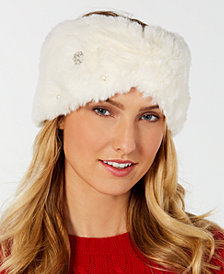 I.N.C. Embellished Faux-Fur Headband, Created for Macy's