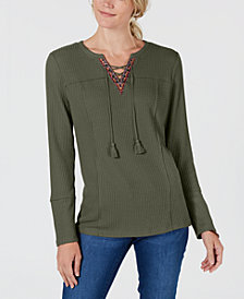 Style & Co Lace-Up Top, Created for Macy's