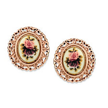 2028 Rose Gold-Tone Purple Flower Button Earrings
