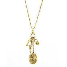 2028 Gold-Tone Key, Heart and Oval Filigree Locket Charm Necklace 26