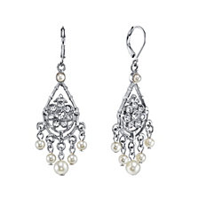 2028 Silver-Tone Crystal and Simulated Pearl Chandelier Drop Earrings