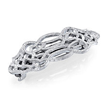 2028 Silver-Tone Hair Barrette with Scroll Design