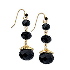 2028 Gold-Tone Black Beaded Drop Earrings