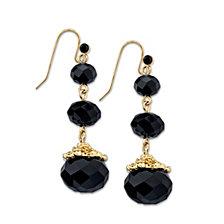 2028 Gold-Tone Black Beaded Drop Earrings