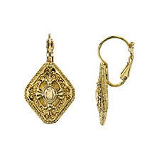 2028 Gold-Tone Diamond Shaped Drop Earrings