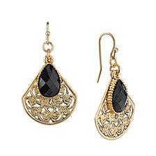 2028 Gold-Tone Filigree Teardrop with Black Pearshape Overlay Earrings