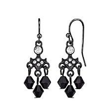 2028 Black-Tone Crystal and Black Drop Earrings