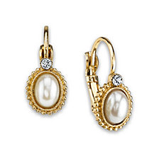 2028 Gold-Tone Simulated Pearl with Crystal Accent Leverback Earrings