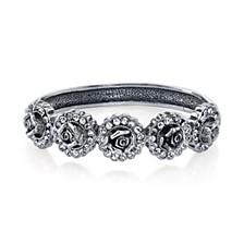 Silver-Tone Crystal Flower Bracelet