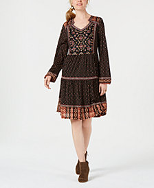 Style & Co Petite Embroidered Peasant Dress, Created for Macy's