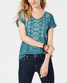 Style & Co Graphic Shirttail-Hem Top, Created for Macy's