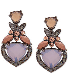 Jenny Packham Hematite-Tone Crystal Clip-On Drop Earrings