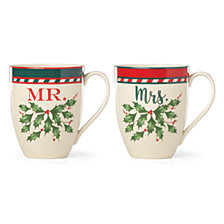 Lenox Holiday Mr. & Mrs. 2-Pc. Mug Set