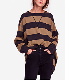 Free People Surfin On Your Stripes High-Low Cotton Sweater