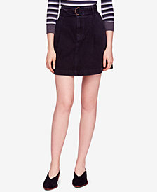 Free People Jade Belted Cotton Denim Mini Skirt