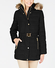 MICHAEL Michael Kors Faux Fur Hooded Belted Down Puffer Coat