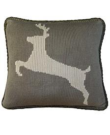 """17""""x17"""" Knitted Deer Pillow"""