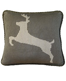 "17""x17"" Knitted Deer Pillow"