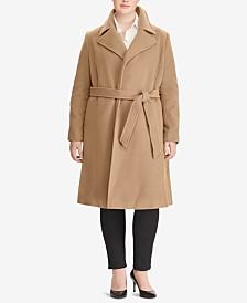 b42433ec77f Lauren Ralph Lauren Plus Size Wool-Cashmere Blend Notch Collar Wrap Coat